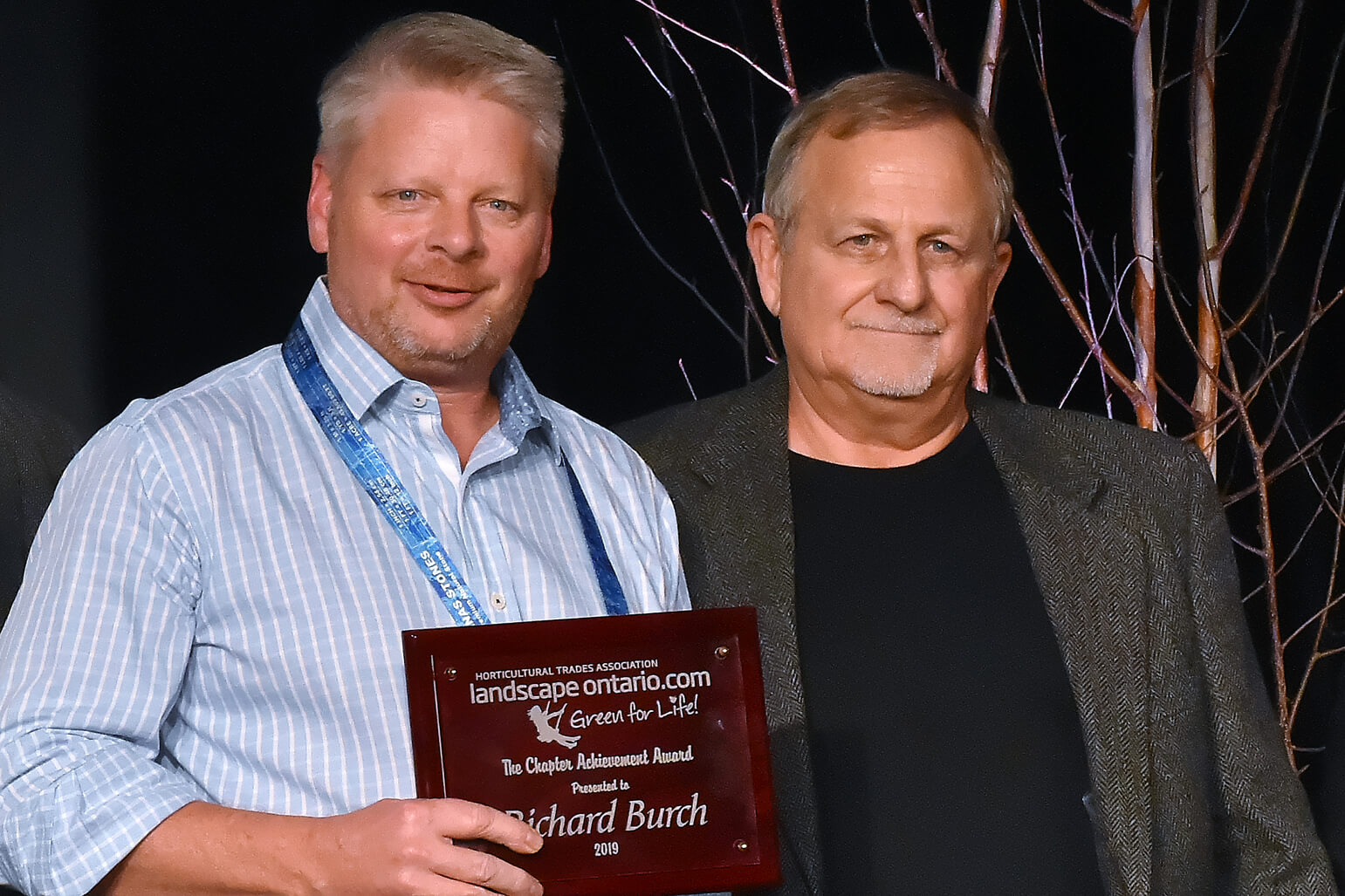 richard burch, recipient of the 2019 Chapter achievement award, with Phil Dickie