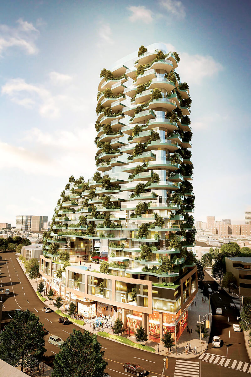 concept of a tall building with trees on balconies