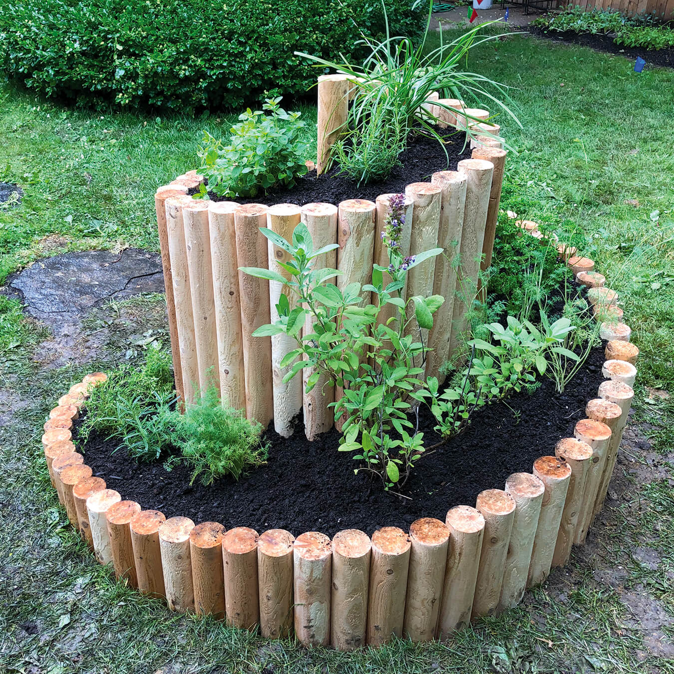 a raised backyard planter