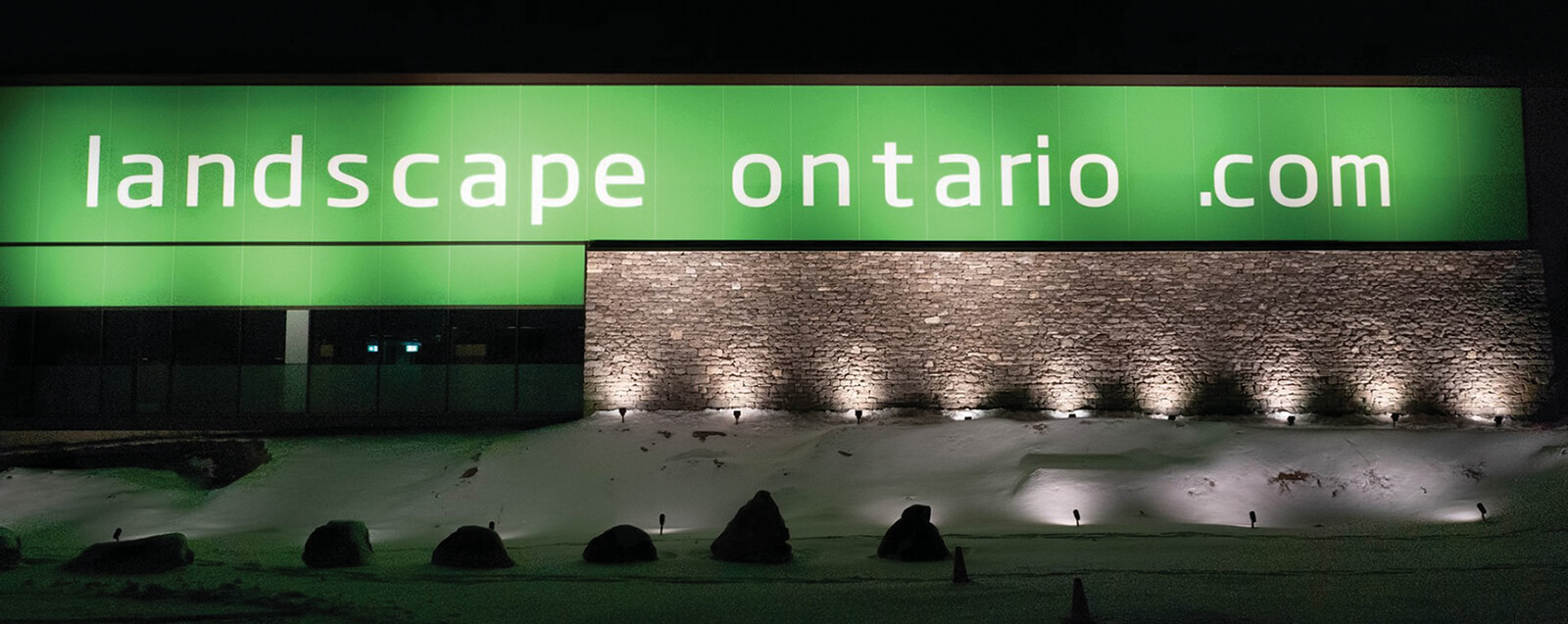 landscape ontario building and sign at night