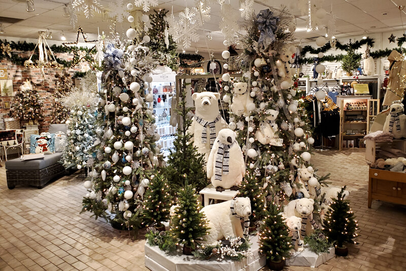 a festive holiday display inside a store