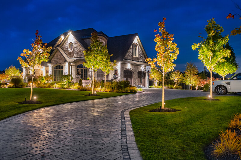 a large frontyard at night well lit using landscape lighting