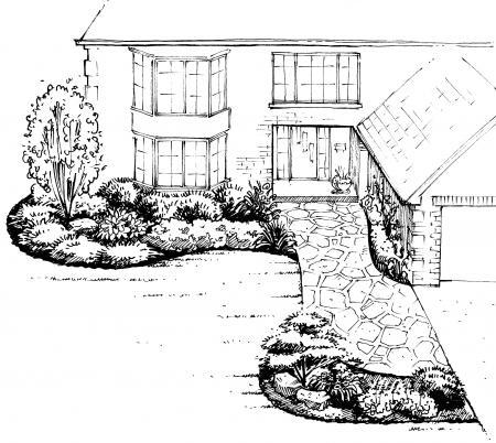 Front yard landscape design a sample shopping list 1 for Backyard drawing plans