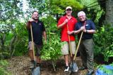 LO Executive Director Tony DiGiovanni (right) planted a Stewartia at Cuddy Gardens alongside the first (Tim Elliott, left) and most recent (Easton Klaudi) recipients of the Tony DiGiovanni Scholarship.