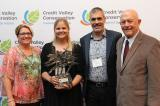 The Fusion Landscape Professional program was awarded the Green Cities Award at Credit Valley Conservation's Friends of the Credit Conservation Awards on June 14, 2018. (L-R): Karen Ras, Councilor, Ward 2, Mississauga; Cassandra Wiesner, Landscape Ontario; Gino Piscelli, Region of Peel; Ron Starr, Councilor, Ward 6, Mississauga.