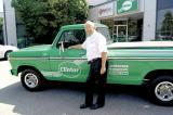 Bob Wilton poses with his classic 1973 Ford 150 dressed in Clintar colours that marks the year Wilton began his company.