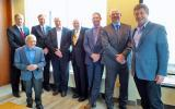 Left to right: Gary Lacy, Executive Director NCC; John Cary, Chief Executive MLF; Dr. Mark Kristmanson, Chief Executive Officer NCC; Tony DiGiovanni, Executive Director Landscape Ontario; Ken Jewett, founder MLF; James Jewett, Director MLF; Marc Corriveau, Director Urban Lands and Transportation; Mike Rosen, President Tree Canada.
