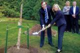 LO president Dave Braun and Jim Flahery's widow Christine Elliot, MPP for Whitby-Oshawa, help plant a tree in a memorial to the former Canadian Finance Minister, while Durham Chapter director Mark Humphries and Nancy Shaw, president of Parkwood Historic Site, look on.