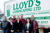 Family members who work to make Lloyd's Landscaping a success. In front, from left, Kim Cotter, Stephanie Lemesurier and Louise Tyrrell, and in back, Paul Lloyd, Brian Cotter, Chris Lemesurier and Scott Lloyd. Absent are Rick Sr., who spends the winters in Florida, and Rick Jr.