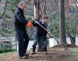 Kyle Tobin took time to teach his nephews about raking the right way.