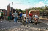 Members of Rockscape Design of Port Sydney help excavate soil for new school in Nicaragua.