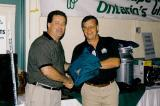 The Toronto Chapter's Dick Sale Memorial Charity Golf Tournament raised over $1,500 towards the Hospital for Sick Children. In photo, Maurice Le Blanc, left, receives the prize for the longest drive from donor Marty Lamers of Allan Block.