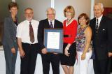 From left, Sally Harvey, LO education and labour manager; Joe Tomona, associate dean, Humber College School of Applied Technology; honouree Tony DiGiovanni; Denise Devlin-Li, dean, School of Applied Technology; Anna Marie DiCarlo, sister of Tony DiGiovanni and Terry Murphy, retired Landscape Ontario human resources manager and Humber instructor.