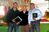 Accepting plaques at the Windsor Chapter Awards Night are from left, Christopher Keiser of Landscape Effects Group, Chapter president Nino Papa of Santerra Stonecraft, and Chris Power of Bellaire Landscape.