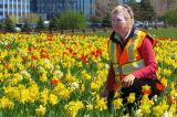 Caroline de Vries takes on the task of planting spring flowers beside busy highways.