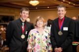 Tyler Garrad, left, and Joseph Isaak with their teacher Jan Lehman.