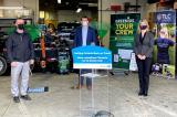 (l-r): Jay Murray, owner, TLC Landscaping; Monte McNaughton, Minister of Labour, Training and Skills Development; Jill Dunlop, Associate Minister of Children and Women's Issues.