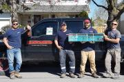 Pictured here (l-r) are the lucky prize winner and owner of Brickworks, Andrew Letersky, and his crew.
