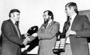 Waterloo Chapter president, Howard Gallup (left), accepts the first Membership Challenge Award back in 1979 from LO Executive Director, Dennis Souder, as chapter member, John Wright looks on.