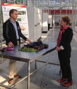 Dr. Viliam Zvalo discusses world crops research with Ontario Premier Kathleen Wynne.