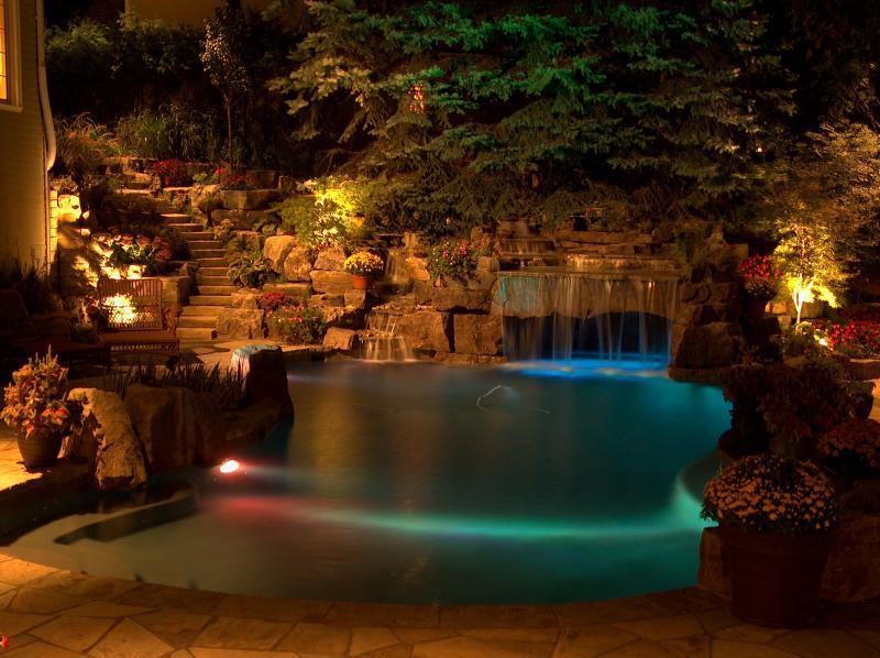 2008 - Landscape Lighting Design & Installation - Over $30,000 - Pool and Waterfall (Plaque)