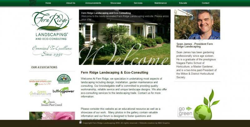 2011 - Web Sites  - A screen shot of the home screen of www.fernridgelandscaping.com.