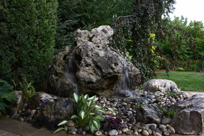 2012 - Water Features  - taken during the day with  the natural back  drop  of the cedar hedge