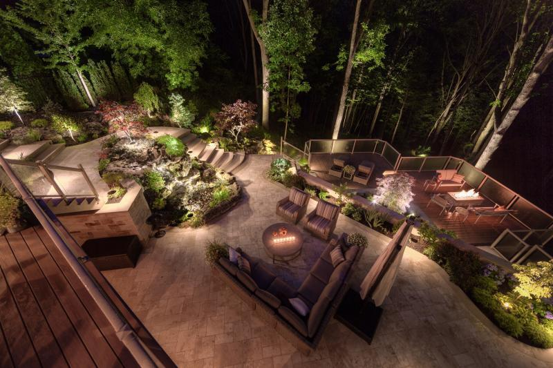 2015 - Landscape Lighting Design & Installation - $10,000 - $30,000 - picture taken from uppper deck looking out into the ravine