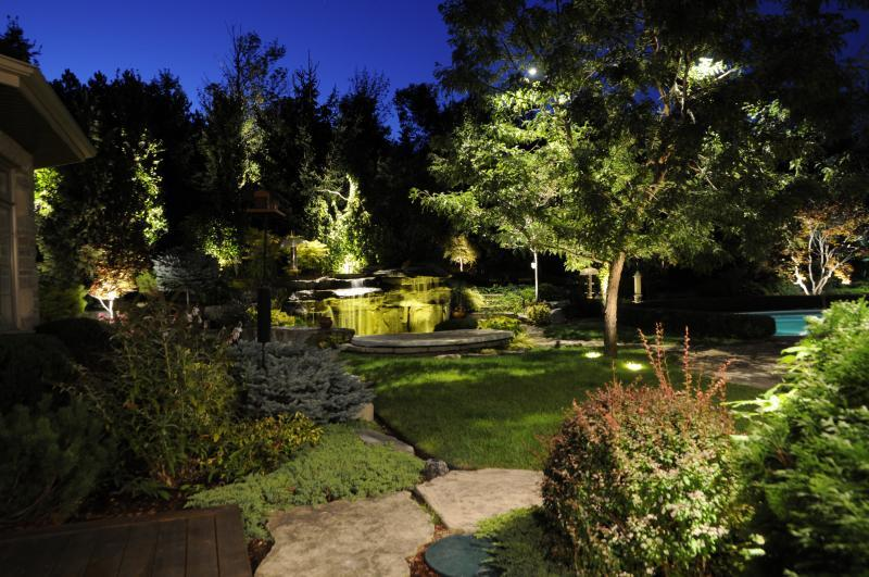 2015 - Landscape Lighting Design & Installation - Over $30,000 - Back Yard Lawn View * (Plaque)