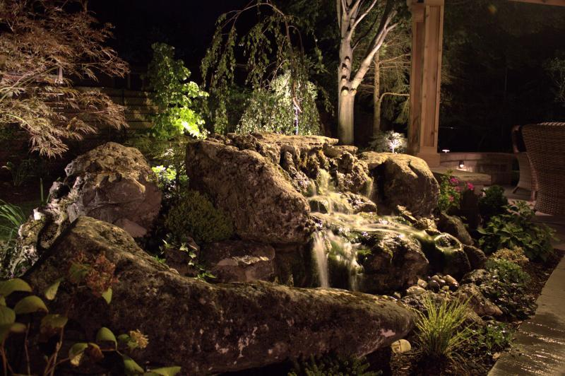2015 - Landscape Lighting Design & Installation - Under $10,000 - close up of water feature