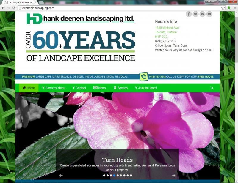 2015 - Web Sites  - Hank Deenen Landscaping Website Main Page