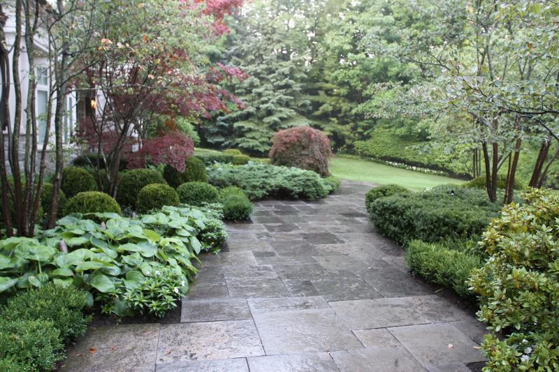 2016 - Special Interest Construction  - After walking down the driveway to the entry walkway, guests would navigate this entry to the pathway to the house.  Boxwoods, euonymous, ferns and hosta line the beds.