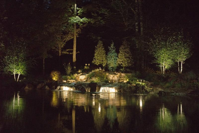 2016 - Landscape Lighting Design & Installation - $10,000 - $30,000 - Light view of waterfall from north end of pond