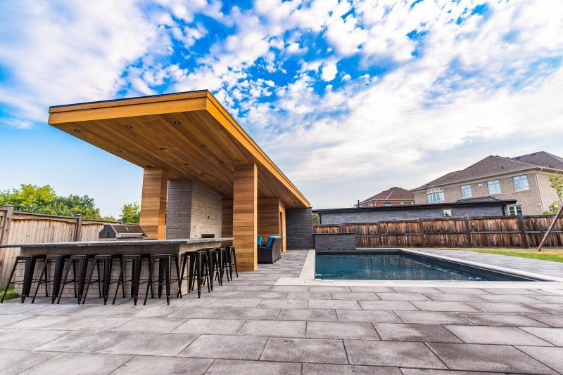 2016 - Residential Construction - $500,000 - $1,000,000 - This photo captures this amazing modern designed cabana with a rectangular vinyl pool to complement it