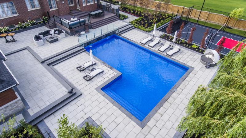 2017 - Residential Construction - $500,000 - $1,000,000 - Aerial view of pool, sport court, and deck