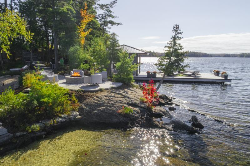 2018 - Residential Construction - Over $1,000,000 - View of Fire pit Terrace and Dock
