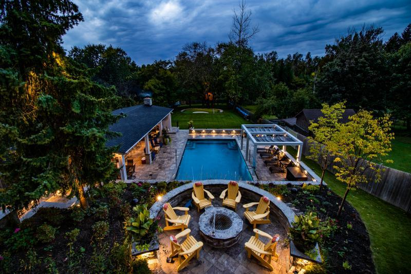 2018 - Residential Construction - $500,000 - $1,000,000 - Evening view of rear yard from second floor loggia