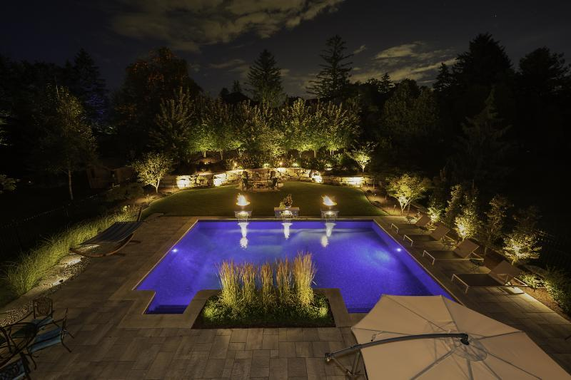 2019 - Landscape Lighting Design & Installation - Over $30,000 - summer time view from the upper deck